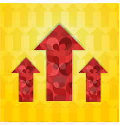 Three red patterned multi-colored arrows vector