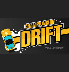 Top view of a drifting cars drift banner for web vector