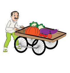 Vendor pushing vegetable cart vector
