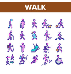 walk people motion collection icons set vector image