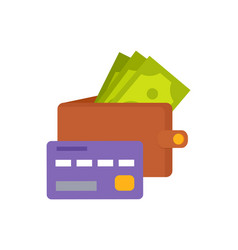 wallet with money and purple credit card icons vector image