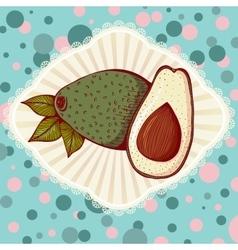 Whole and half avocado vector