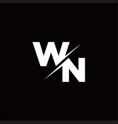 Wn logo letter monogram slash with modern logo vector