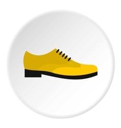 Yellow man shoe icon flat style vector image
