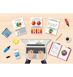 Businessman workplace wooden desk vector image vector image