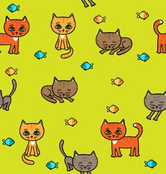 Pattern with little kittens vector image vector image