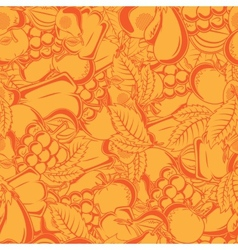 Seamless pattern with autumn fruits and leaves vector image