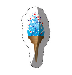 sticker olympic torch with blue flame vector image
