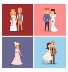 wedding couple beautiful model girl in vector image vector image
