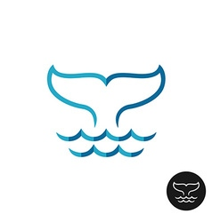 Whale tale logo with ocean waves Blue flat colors vector image