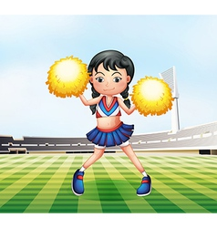 A cute cheerdancer at the soccer field vector image vector image
