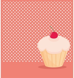 Cherry cupcake on white polka dots pink background vector image vector image