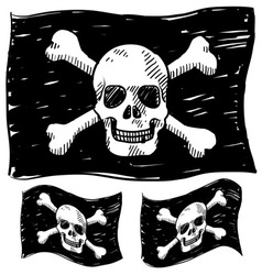 doodle skull pirate flag vector image vector image