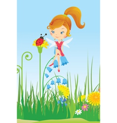 Fairy on a flower meadow and ladybug vector image