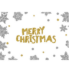Merry Christmas Golden Greeting On White Christmas vector image