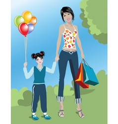 shopping mom vector image vector image
