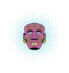 Tribal mask icon comics style vector image