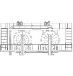wire-frame oil and gas industrial equipment vector image vector image
