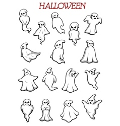 Eerie flying Halloween ghosts and monsters vector image vector image