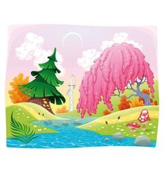 Fantasy landscape on the riverside vector image vector image