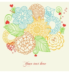 flowers and hearts love card vector image vector image