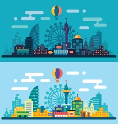 Night and day city landscape vector image