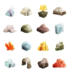 Game art environment low poly rock stone boulder vector image vector image