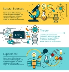 Science Line Banners Set vector image vector image