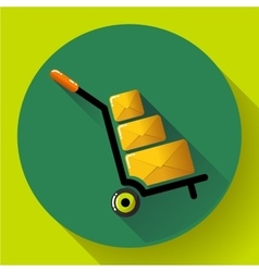 Warehouse trolley flat 20 long shadow icon vector