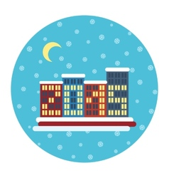 Winter city landscape with buildings Christmas vector image vector image