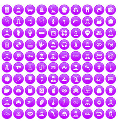 100 different professions icons set purple vector