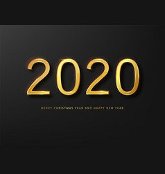 2020 happy new year greeting card gold and black vector image