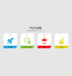 4 future filled icons set isolated on infographic vector