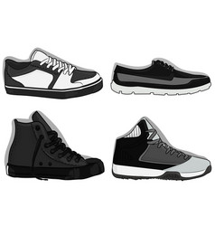 a set of shoes grey sport shoes eps 10 vector image
