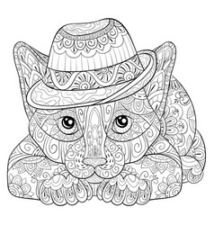adult coloring bookpage a cute cat image vector image