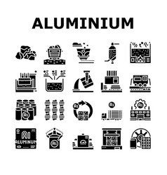 Aluminium production collection icons set vector