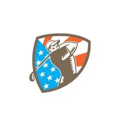 American Golfer Tee Off Golf Shield Woodcut vector