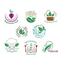 Assorted restaurant and vegetarian food symbols or vector image