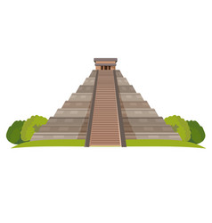 Aztec pyramid with green bushes at base isolated vector