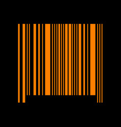bar code sign orange icon on black background vector image