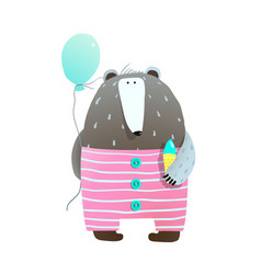 bear with ice cream and balloon vector image