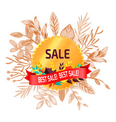 best sale poster with leaves vector image