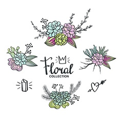 Boho wedding succulents decoration Floral set vector