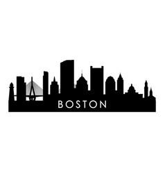 boston skyline silhouette black boston city vector image