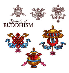 buddhism religion auspicious symbol sketch vector image