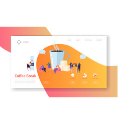 Business coffee break landing page lunch time vector