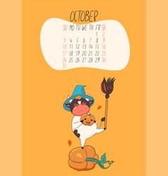 Calendar for october 2021 cute bull vector