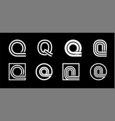Capital letter q modern set for monograms logos vector