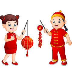 cartoon chinese kids holding a lanterns and firecr vector image