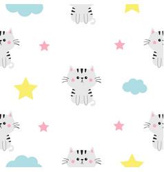 cat head hands cloud star shape cute cartoon vector image